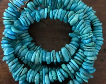 Vintage Turquoise Chip Southwestern Style Long Necklace Sterling Silver Clasp