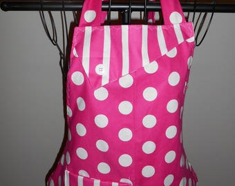Hot Pink and White Polka Dots and Stripes - Women's Apron - Ruffle - Pocket