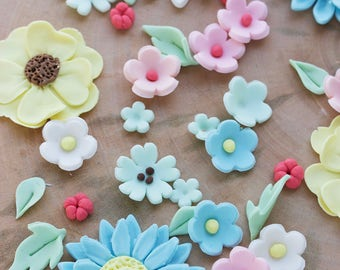 Spring Fondant Flowers, Edible Flowers for Cakes, Cupcake Flowers, Edible Flowers for Cake Decorating