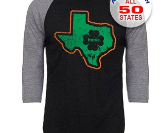 Texas Home State Irish Shamrock - Unisex Tri-Blend 3/4 Sleeve Raglan Baseball T-Shirt - Sizes S-3XL