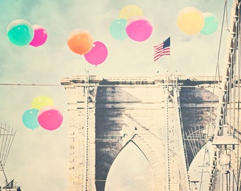 "Brooklyn Bridge - 8x10 photograph - ""Bright Balloons over the Bridge"" - fine art print - vintage photography - Colorful Balloons - whimsica"