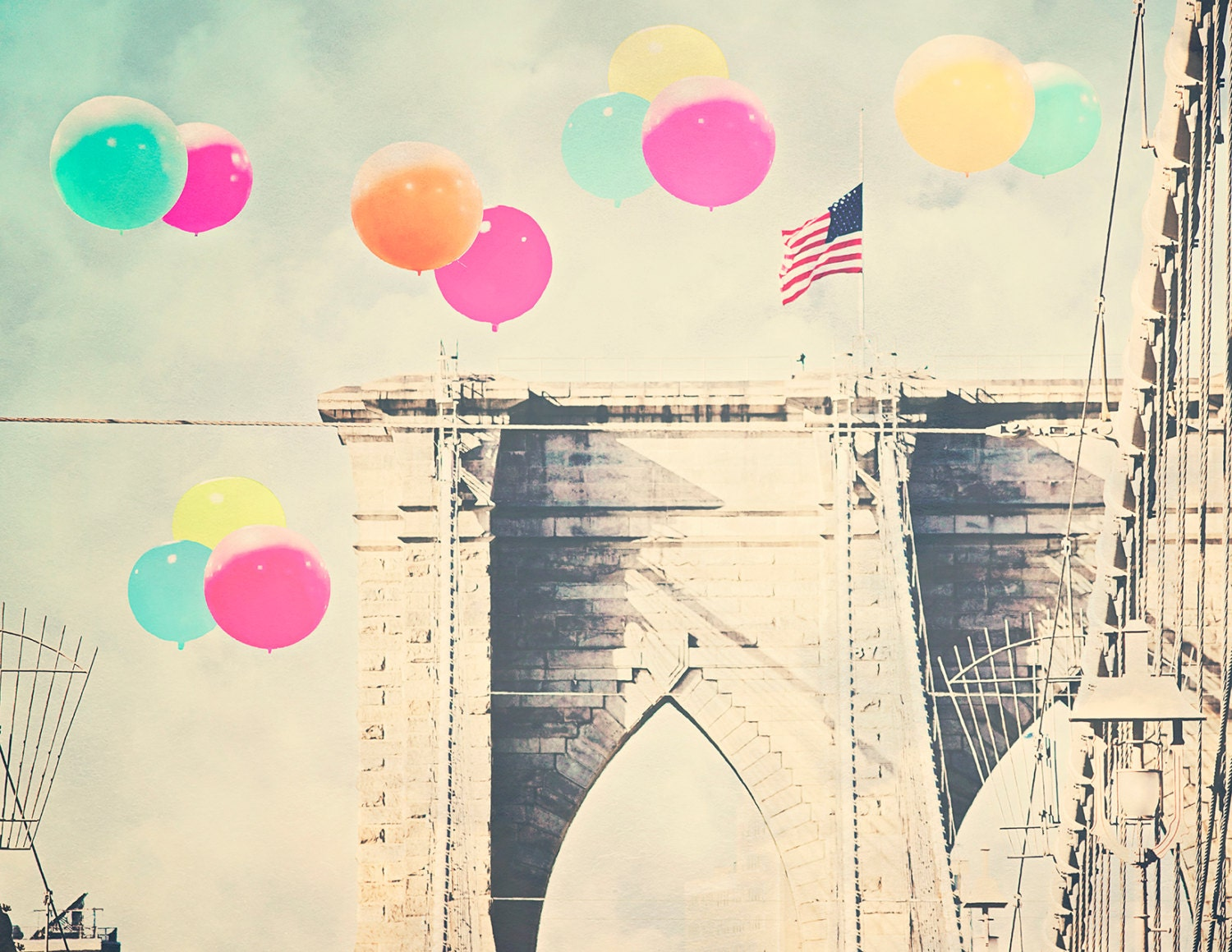 Brooklyn Bridge 8x10 Photograph Bright Balloons Over
