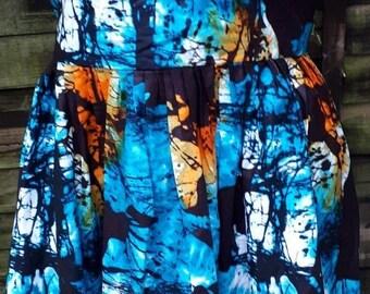 African Batik Tie & Die ulticoloured, mid length dress with back zip detail size UK 16