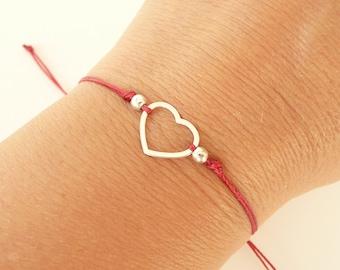 925 Silver Heart Bracelet, Friendship Bracelet, Tiny Heart Bracelet, Sterling Silver or Gold Vermeil Bracelet, Dainty Bracelet