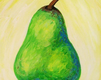 Pear painting - Original art - Painting on canvas - Fruit painting - Kitchen art - Still life - Elisa Alvarado - Acrylic painting