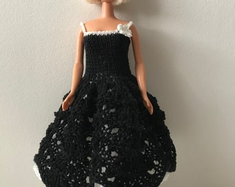 Handknitted black and white dress for Barbie