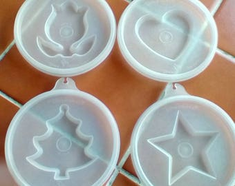 4 Tupperware lids with moulds tulip heart star Christmas tree Vintage 1970s 9cm diameter tupperseal