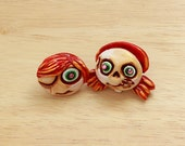 Clay Earrings Skull Kids...