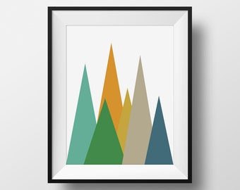Mountains Mid Century Modern Wall Art, Green and Yellow Retro Print, Midcentury Poster, Abstract Triangles, Danish Modern Abstract Print