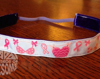 NOODLE HUGGER Non slip ribbon headband - breast cancer awareness ribbons and bras-7/8 inch (running, working out, everyday: women and girls)