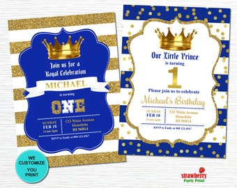 Prince birthday invitation with photo royal prince first royal prince birthday invitation royal blue gold crown boy first birthday invitation custom printable invitation a26 filmwisefo
