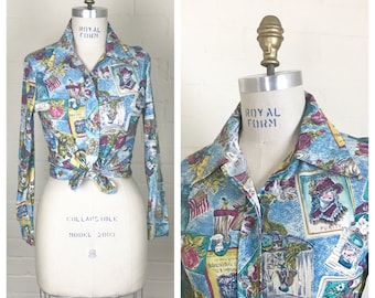Vintage 70's boho blouse  / Size small or xs / floral print/ blue