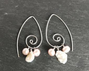Multi Freshwater Pearl Swirl Earrings