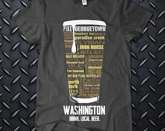 """WASHINGTON CRAFT BEER Typography"""" t shirt. One of a kind. Ringspun Cotton. Unique. Distinkt!"""