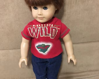 18 inch BOY doll clothing (Modeled by American Boy) Minnesota hockey shirt and blue jeans