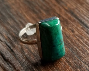 925 Sterling Silver Chrysocolla Cabochon Ring Size 7 #13475R