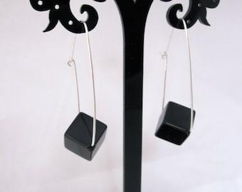 Onyx cubes gemstone long dangle sterling silver or gold filled earrings, healing, grounding stone earrings