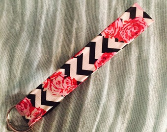 Chevron Roses Duct Tape Keychain