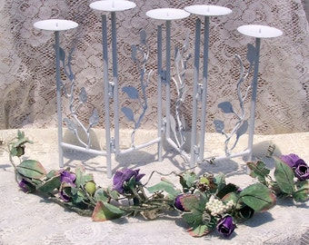ROMANTIC CANDELABRA Shabby  Weddings Pure White 5 Pillar Candles Adjustable Metal reduced 20%