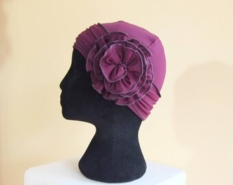 Womens chemo hat, Plum purple chemo hat, chemo cap with flower headband, chemo headwear, headwrap lined in rayon lycra knit