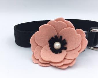 Pink flower Pet Collar, Dog collar, Pet collars, Cat collar, dog of honor, show dog accessories