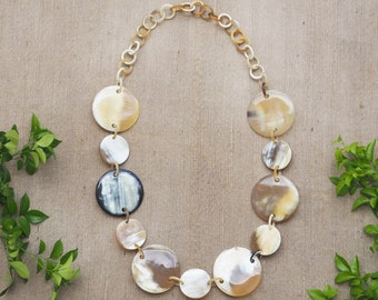 Natural Buffalo Horn Necklace Circles Jewelry