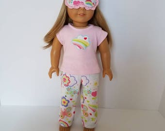 American Girl Doll Pajamas with or without sleep mask. Happy Spring