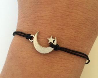 Moon Bracelet 281- friendship star moon Kabbalah charm waxed cord bracelet alloy silver lucky gift adjustable current womenswear trendy