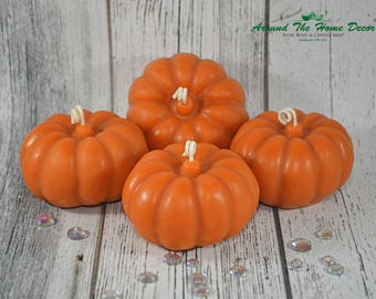 Pumpkin Candle | 4 ounce | All Natural Vegan Soy Wax | Scented or Unscented | Fall | Halloween | Thanksgiving Decor