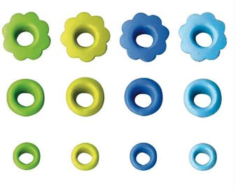 MAXI blue set light blue green green light assortment of PINKS circles and flowers X 120 PIECES COLLECTION