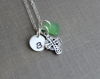 Personalized Sterling silver celtic cross Necklace with genuine Sea Glass and Initial Charm , Irish necklace,  Beach jewelry - Gift for her
