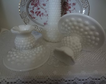 Fenton Milk Glass Hobnail Pair of Candle Holders