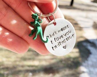 Dinosaur Keychain - Rawr Means I Love You Keychain - Dinosaur Gift - I Love You Gift - Valentines Keychain - Valentine Gift - Green Dinosaur