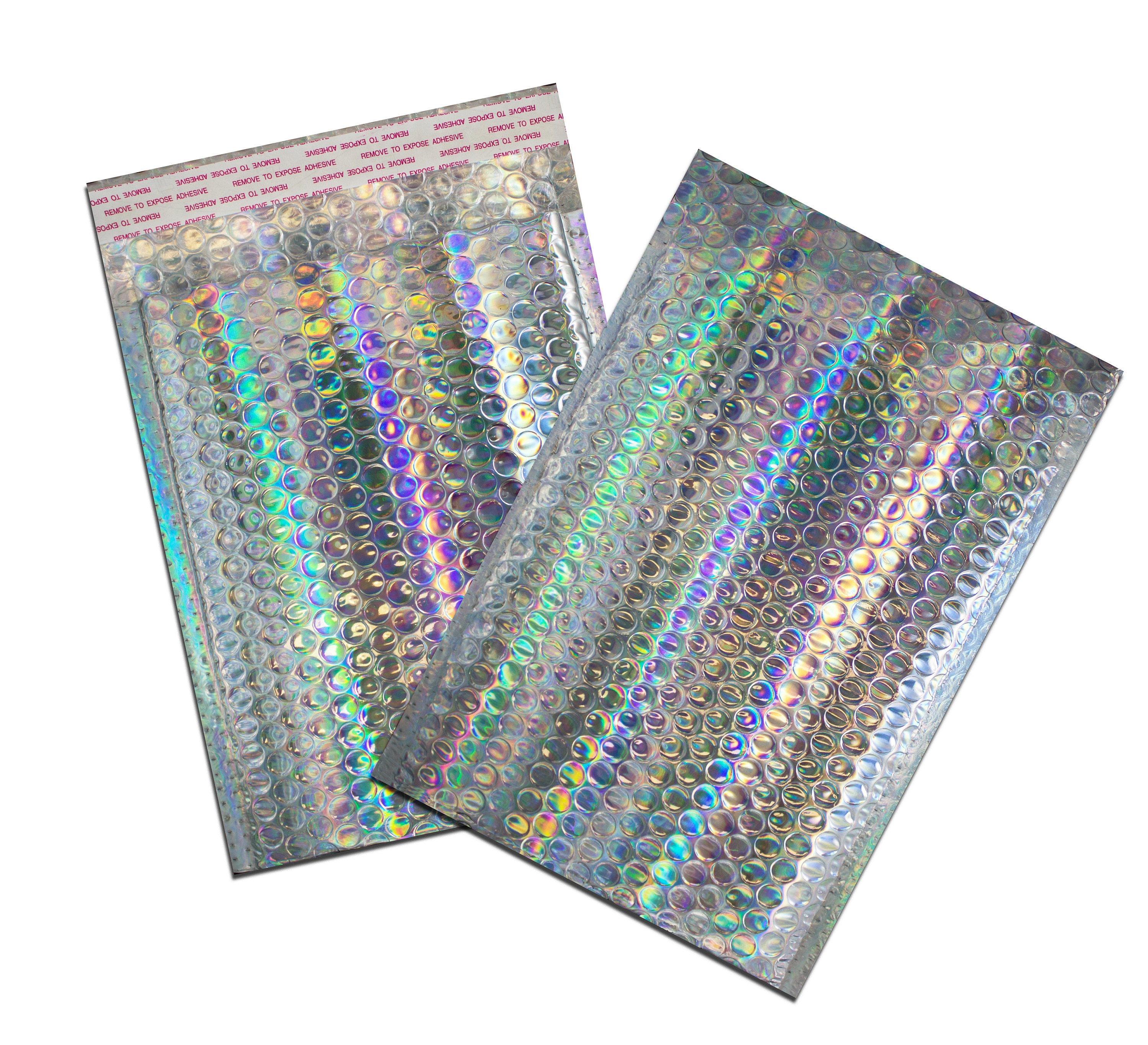 50 pack 6x10 holographic metallic bubble mailer self sealing