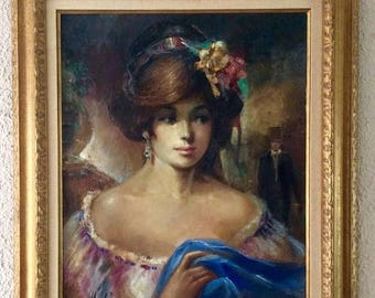 Sale Vintage Oil Painting Portrait of a Beautiful Woman O/C Original Art Signed Americo Makk OBO