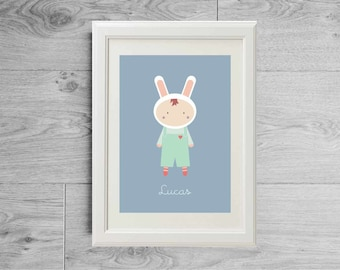 Custom name print - The buny boy - Birth gift - Gift for baby - Baby gift - Kid's room wall art - Nursery art - printed on matte paper