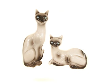 Siamese Cat Statues, Blue Rhinestone Eyes, 1950's 1960's Mid Century Siamese Home Decor, Large Cat Figurines, Vintage Siamese Figurines