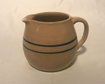 Stoneware Jug, Pitcher, Creamer, Yelloware with blue Stripes, Rustic, Farmhouse Piece