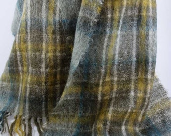"""St Michaels MOHAIR Scarf Wrap Shawl Made in Scotland Earthnones Plaid 19""""x72"""""""