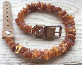 Baltic Raw Amber Flea and Tick Collar with Adjustable Leather Strap for Dogs and Cats