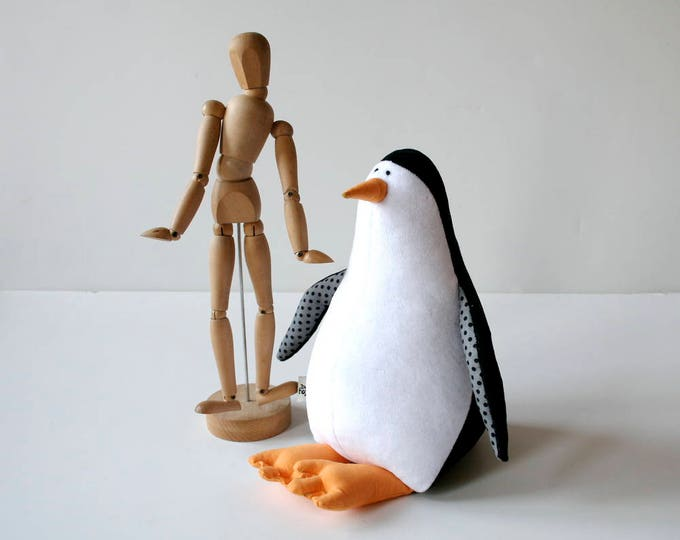 Little Penguin Stuffed Antarctic Bird, Penguin Stuffie, Plush Cuddly Bird, Black&White Plushie