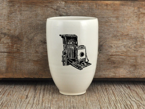 Porcelain beer tumbler with vintage camera drawing by Cindy Labrecque