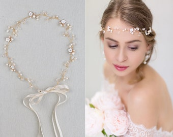 Bridal Vintage Headpiece Freshwater Pearls Hair vine with Pearls & Rhinestones in gold , silver Wired Crystals  Wedding Adornment