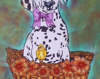 Coloring Book for Adults , Easter, eggs, Chick, bird ,flowers,Dalmatian