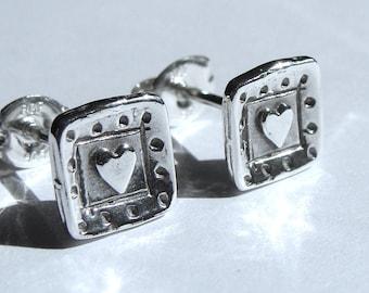 Heart Studs Valentine's Day Square Heart Earrings Sterling Silver Earrings Valentine Jewelry Gift Small Post Earrings Stud Earrings