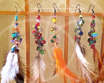 Feather Earrings Beaded Wire Wrapped