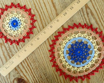 Multicolor Crochet Doily - Colorful Doily Small Large - Crochet Centerpiece - Rainbow Doily - Red Orange Yellow Blue - Floral Ring Pair