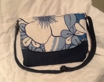 Sooo Cute Navy Blue Denim Messenger/Diaper Crossbody Purse