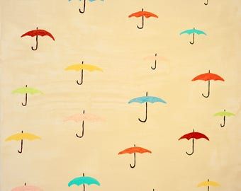 "Umbrellas Rain, 12""x12"" acrylic on canvas hand-made painting, wall hangings, interior design, home decor"