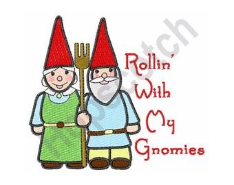 Rollin' Gnomes - Machine Embroidery Design - 4 X 44 Hoop, Garden, Gardening, Couple, Elves, Fairies